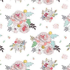 Riley Blake Idyllic Flowers on Cream Fabric 0.5m