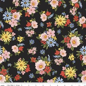 Riley Blake Beautiful Day in Black Floral Fabric 0.5m