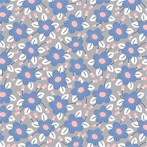 Riley Blake Meadow Lane Grey Fuchsia Fabric 0.5m