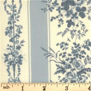Moda Jardin De Fleurs Gray Floral Stripe Fabric 0.5m