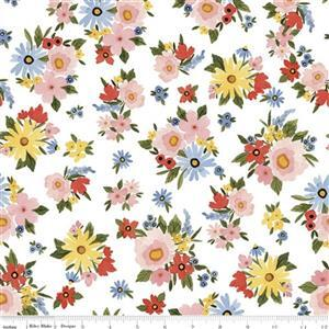 Riley Blake Beautiful Day White Floral Fabric 0.5m