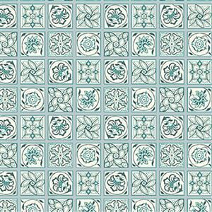 Liberty Emporium Collection Merchant Bright's Argyll Tile Green Fabric 0.5m