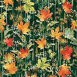 Hoffman Autumn Is In The Air Emerald Gold Leaves Fabric 0.5m