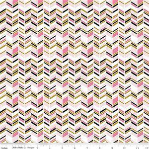 Riley Blake Chloe & Friends Herringbone White Sparkle Fabric 0.5m