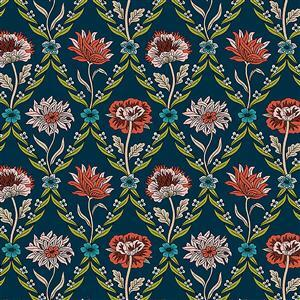 Liberty Summer House Collection in Midnight Blue Kew Trellis Fabric 0.5m