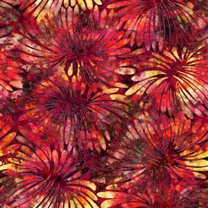 Dan Morris Tropicalia Large Floral Weave Brick Red Fabric 0.5m