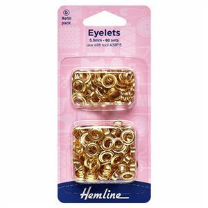 Eyelets Refill Pack 5.5mm Gold/Brass (60 pcs)