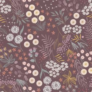 Lewis & Irene Fairy Clocks Floral On Mauve Fabric 0.5m