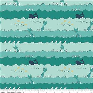 Riley Blake Ahoy Mermaids Crashing Waves Metallic Fabric 0.5m