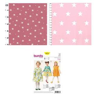 Pink Stars Children's Dress Kit: Pattern & Fabric (2m)