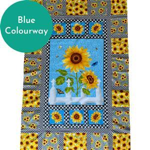 Sunny Sunflowers Blue Quilt Kit: Instructions, Fabric Panel & Fabric (1.5m)