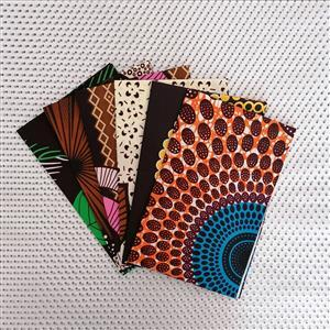 Dovetailed African Wax Fabric Brown Fat Quarter Pack Of 6