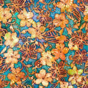 Dan Morris Tropicalia Small Floral Turquoise Fabric 0.5m
