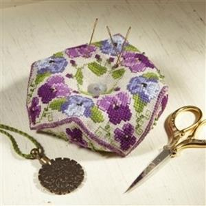 The Cross Stitch Guild Beaded Biscornu Pansy and Violet on Linen