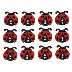 Ladybird Buttons: Pack of 12