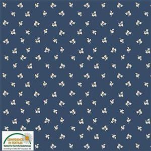 Nellies Shirtings Tossed Leaves On Blue Pre-cut Fabric Bundle 2.5m
