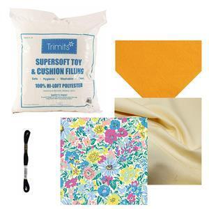 Yellow Betty Bird Toy Bundle: Fabric (1m), Felt, Toy Filling & Embroidery Thread