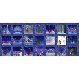 Lewis & Irene Tomten's Christmas 21 Block Panel Blue (45x105cm)