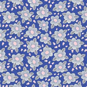 Riley Blake Meadow Lane Blue Fuchsia Fabric 0.5m