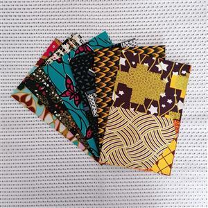 Dovetailed African Wax Fabric Assorted Fat Quarter Pack Of 6
