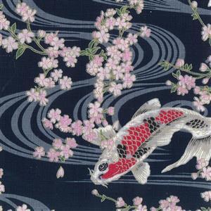 Numa Koi On Navy Fabric 0.5m