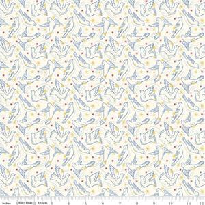 Liberty Merry & Bright Dove Star Cream Fabric 0.5m