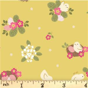 Lewis & Irene Bunny Hop Chicks On Mustard Fabric 0.5m