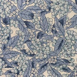 Country Floral Blue Berries Leaves on Cream Fabric 0.5m Exclusive