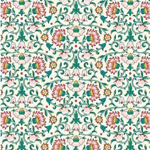 Liberty Emporium Collection Merchant Bright's Culodden Vine Green Fabric 0.5m