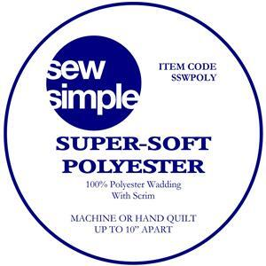 Sew Simple Super Soft 100% Polyester Wadding: Queen Size 228x274cm (90x108 inches)