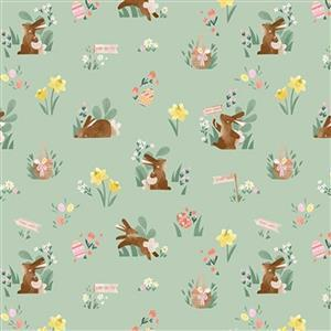 Riley Blake Easter Egg Hunt Bunny Mint Fabric 0.5m