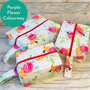 Living in Loveliness Beatrice Boxy Make Up Bag Trio, Purple Flower (makes 3 sizes)