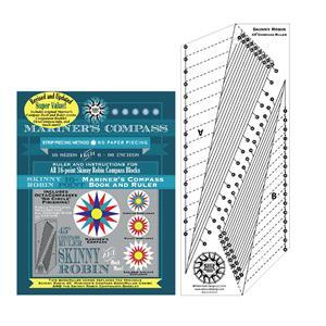 Robin Ruth Skinny Robin 16 Point Mariner's Compass Book and Ruler Combo