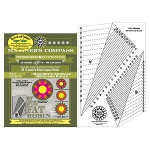 Robin Ruth Fat Robin 16 Point Mariner's Compass Book and Ruler Combo