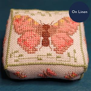 The Cross Stitch Guild Butterfly Pincushion Painted Lady on Linen, Exclusive to Sewing Street until 1st March