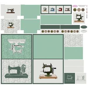 Debbie Shore's Sewing Machine Green Fabric Panel 140cm x 131cm