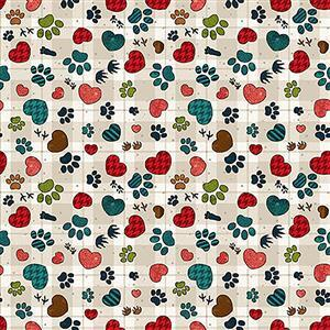 Henry Glass Pawprints & Hearts on Stone Fabric from Rescued & Loved Range 0.5m