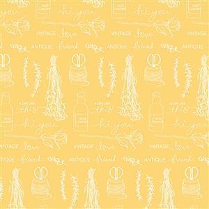 Riley Blake Idyllic Motifs Yellow Fabric 0.5m