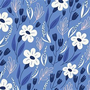 Riley Blake Meadow Lane in Blue Floral Fabric 0.5m