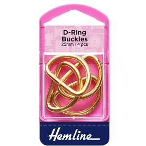 Gold 25mm D Rings: 4 Pieces
