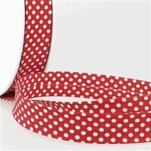 Bias Binding Cotton in Dot Red 20mm x 2.5m