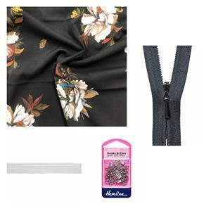 Boutonniere Long Sleeve Misses' Dress Bundle: Fabric (3m), Zip, Elastic & Hook and Eye