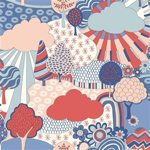 Liberty Carnaby Collection Sunny Afternoon Red and Blue Fabric 0.5m