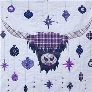Delphine Brooks Christmas Purple Highland Cow Wall Hanging Kit: Instructions & Fabric Panel