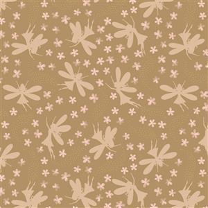 Lewis & Irene Fairy Clocks Fairies On Brown Fabric 0.5m