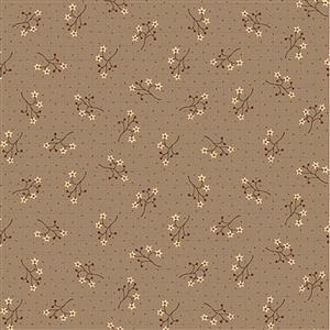 Anni Down On the 12th Starflower Sprig Cocoa Fabric 0.5m