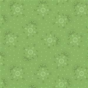 Lewis & Irene North Pole Compass On Elf Green Fabric 0.5m