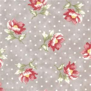 Moda Sanctuary in Ash Polka Dot Floral Fabric 0.5m