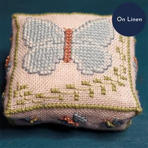 The Cross Stitch Guild Butterfly Pincushion Holly Blue on Linen, Exclusive to Sewing Street until 1st March