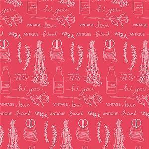 Riley Blake Idyllic Motifs Raspberry Fabric 0.5m
